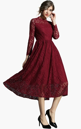 Full Sleeve Lace A Line Dress
