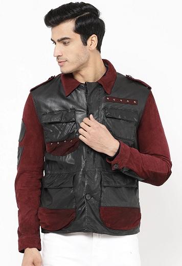 Men's Black And Maroon Solid Designer Leather Jacket