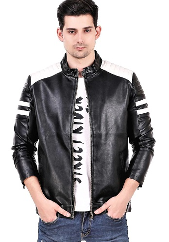 Men's Black And White Striped Leather Jacket