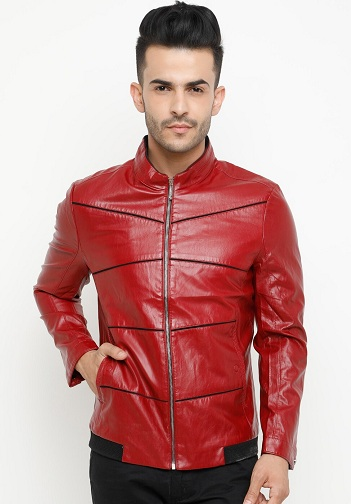 Men's Red Solid Leather Jacket For Sports And Winter