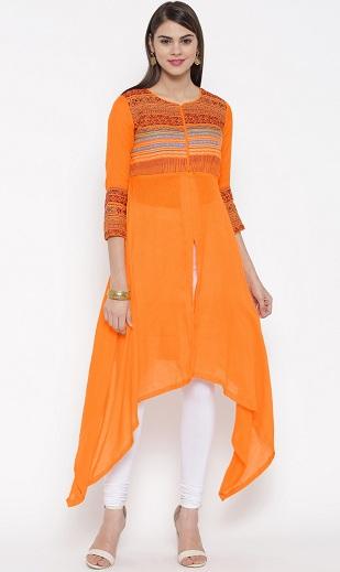 Orange Biba Asymmetric Kurtis