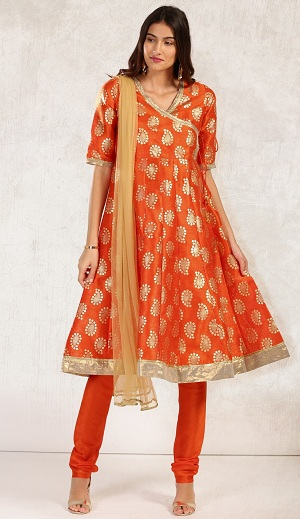 Orange Block Print Anarkali Churidar