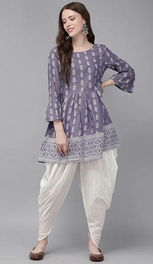 Purple Short Kurta With Dhoti