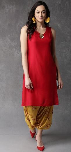 Red Sleeveless Kurta With Dhoti