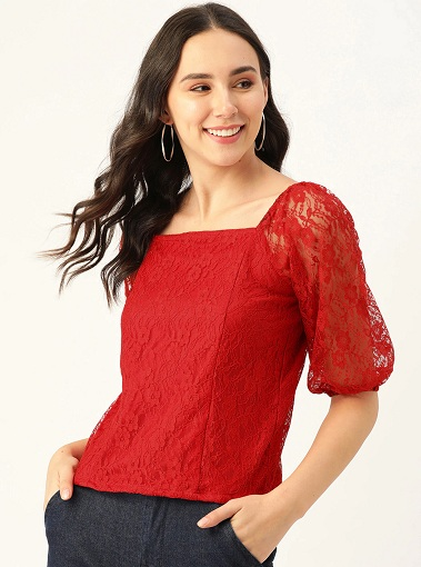 Red Square Neck Lace Top