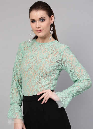 Round Neck Lace Bell Sleeve Top