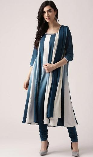 Striped Anarkali Churidar