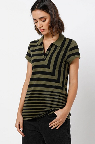 Striped Casual Notched Collar T Shirt