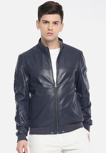 Us Polo Navy Blue Reversible Leather Jacket
