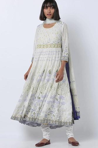 White Anarkali Churidar