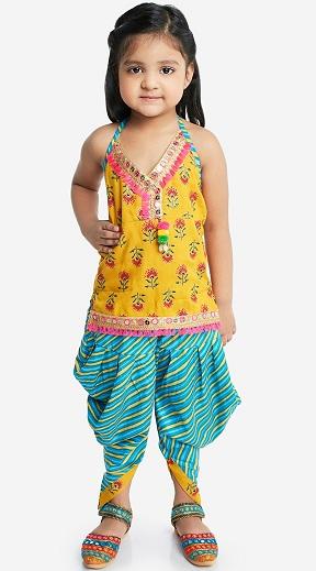 Yellow And Blue Halter Neck Kurti Dhoti
